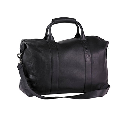 BLACK LARGE LEATHER KIT BAG